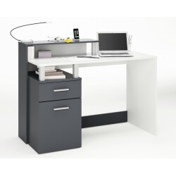 Bureau informatique moderne blanc/graphite CARACOLE