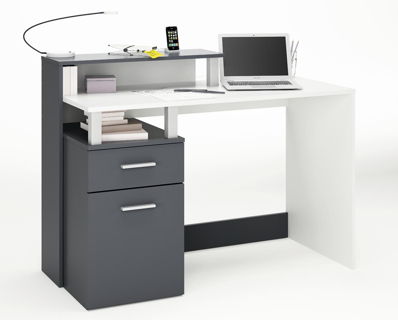 Bureau informatique moderne blanc graphite caracole matelpro