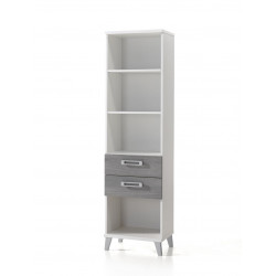 Bibliothèque contemporaine coloris blanc/gris Betty