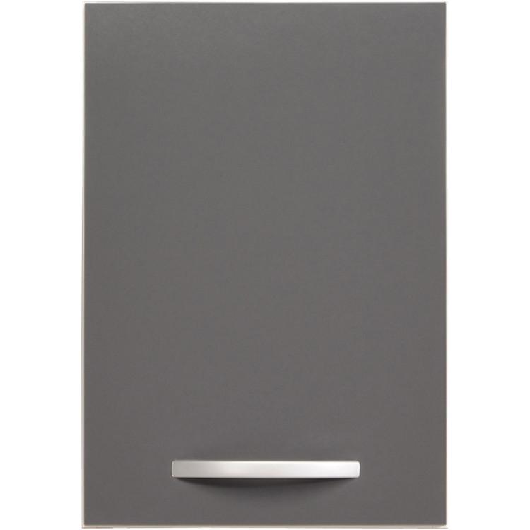 Meuble haut de cuisine contemporain 1 porte 40 cm blanc/gris brillant Romaric