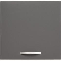 Meuble haut de cuisine contemporain 1 porte 60 cm blanc/gris brillant Romaric