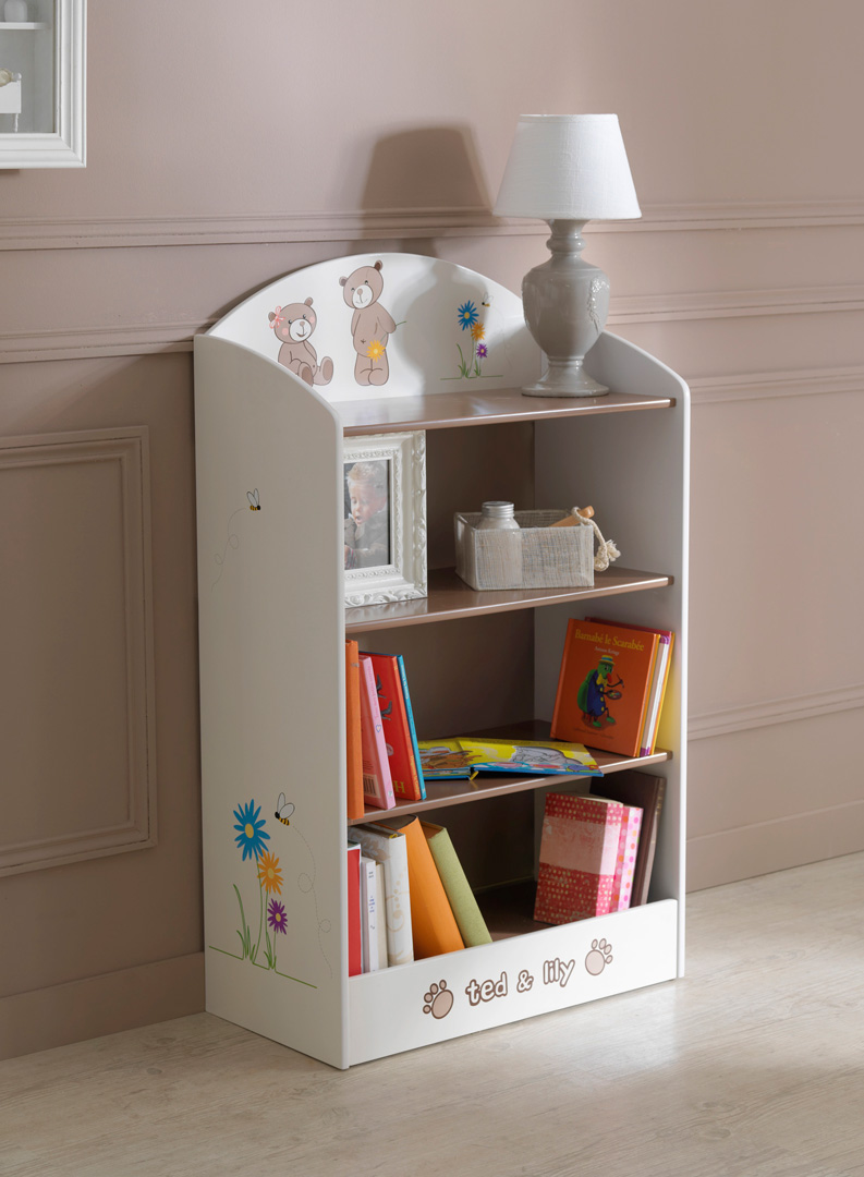 Bibliothèque enfant  contemporaine chocolat/beige Lilly