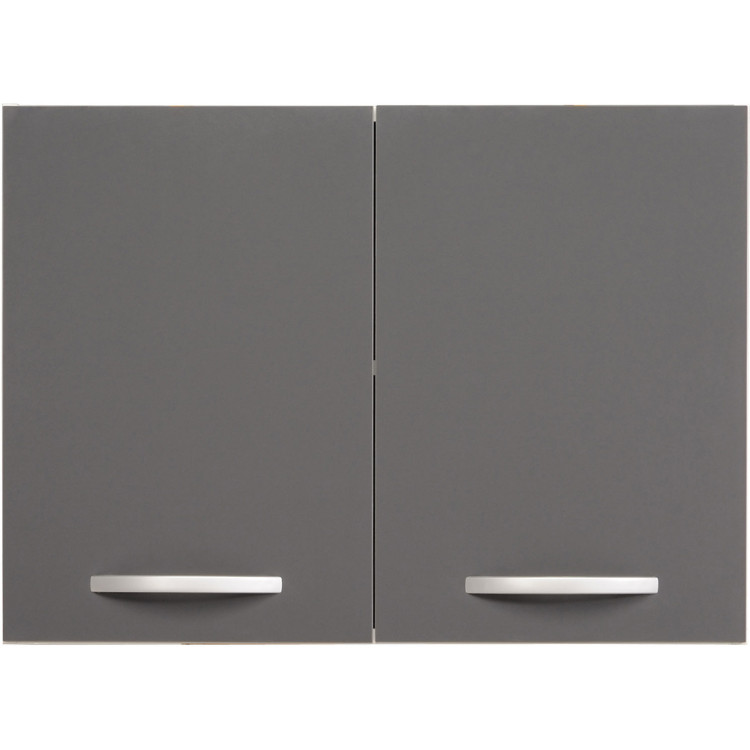 Meuble haut de cuisine contemporain 2 portes 80 cm blanc/gris brillant  Romaric