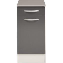 Meuble bas de cuisine contemporain 40 cm 1 porte/1 tiroir blanc/gris brillant Romaric