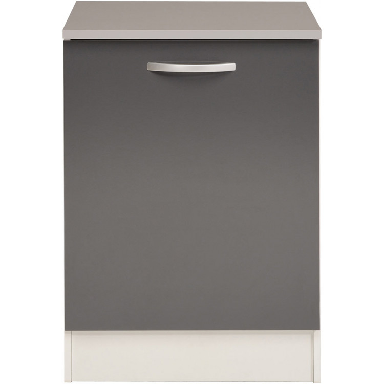 Meuble bas de cuisine contemporain 60 cm 1 porte blanc/gris brillant Romaric