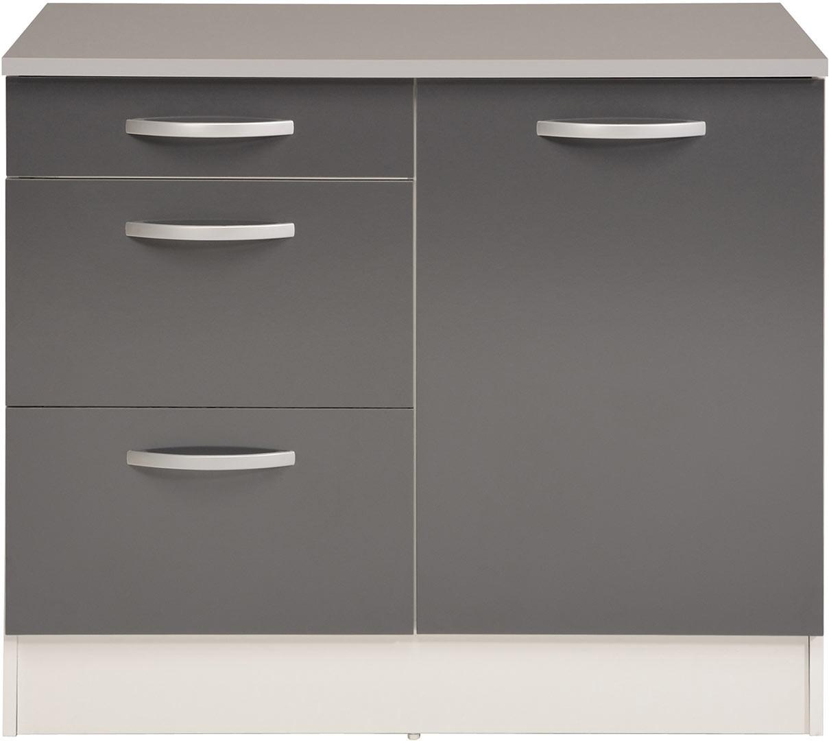 Meuble bas de cuisine contemporain 100 cm 1 porte/3 tiroirs blanc/gris brillant Romaric