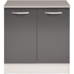 Meuble bas de cuisine contemporain 80 cm 2 portes blanc/gris brillant Romaric