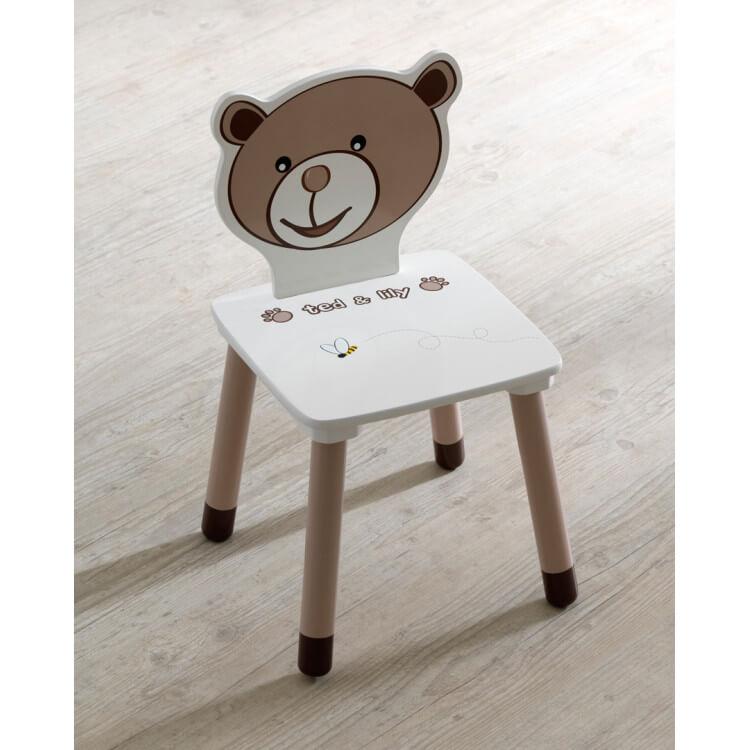 Chaise enfant contemporaine chocolat/beige Lilly