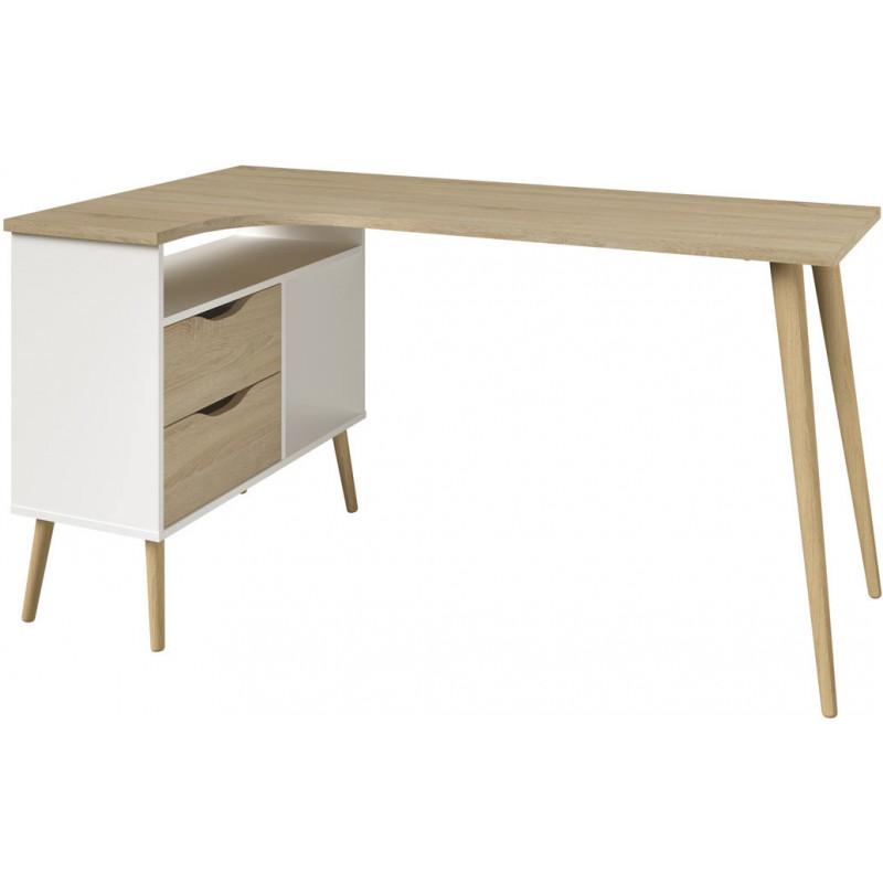 bureau d 39 angle scandinave ch ne blanc alama matelpro. Black Bedroom Furniture Sets. Home Design Ideas