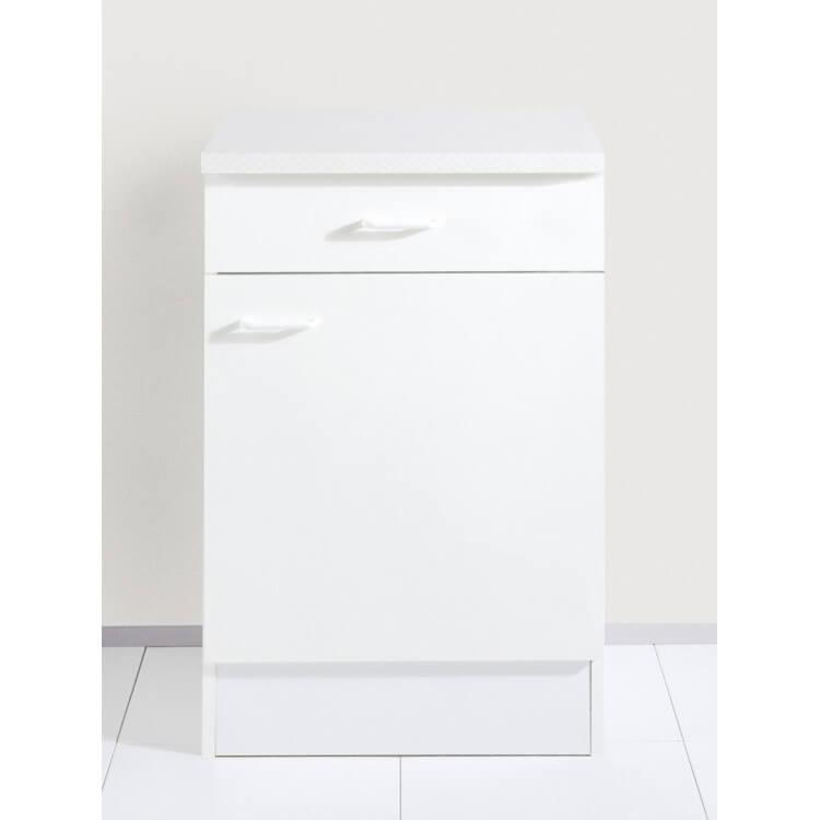 Meuble bas 1 porte et 1 tiroir CREA'COOK-Blanc