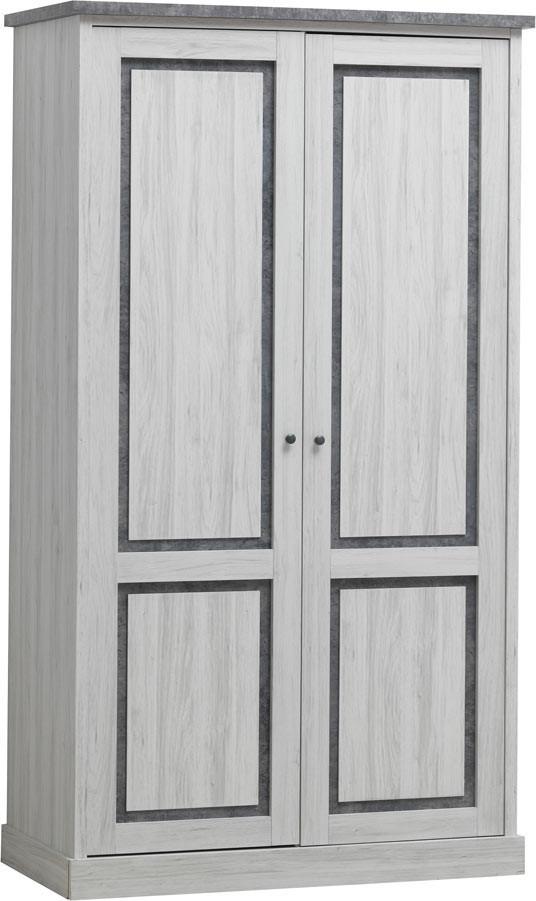 Armoire enfant contemporaine 118 cm chêne clair/gris Emmanuelle