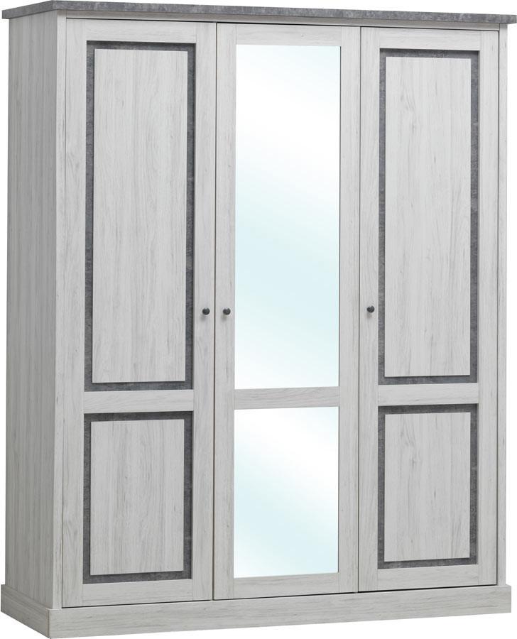 Armoire enfant contemporaine 172 cm chêne clair/gris Emmanuelle