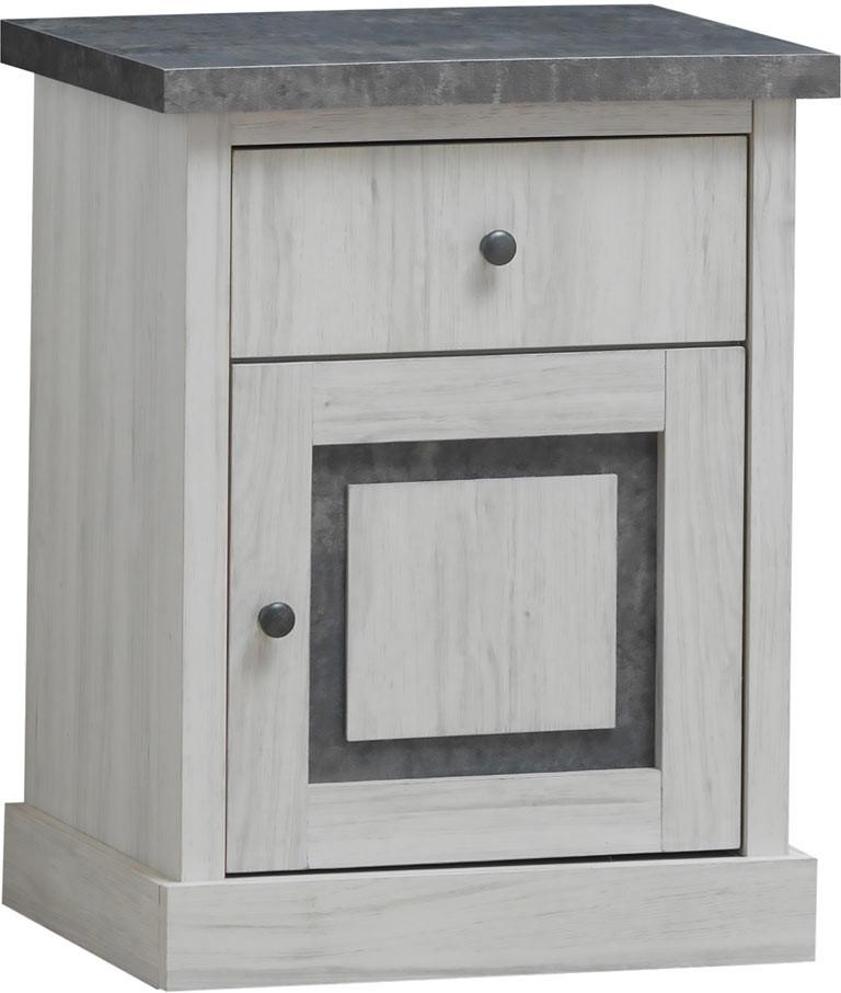 Chevet contemporain chêne clair/gris Emmanuelle
