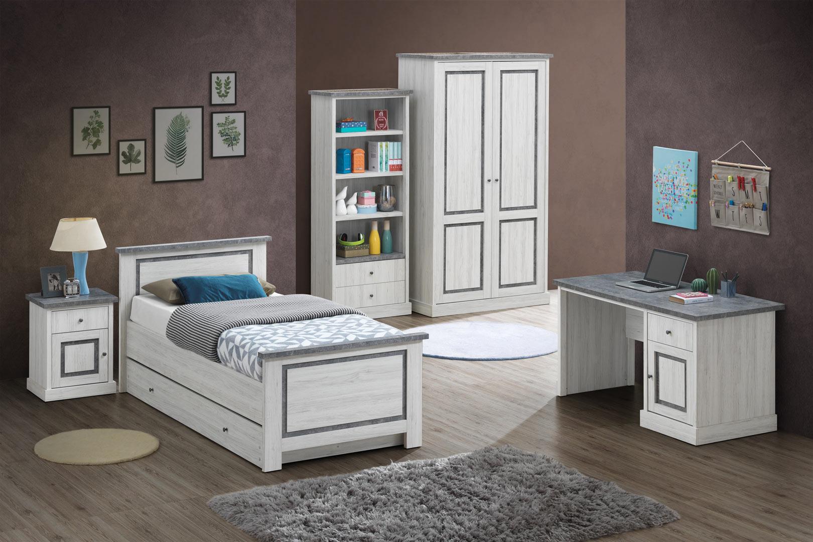 Chambre enfant contemporaine chêne clair/gris Emmanuelle