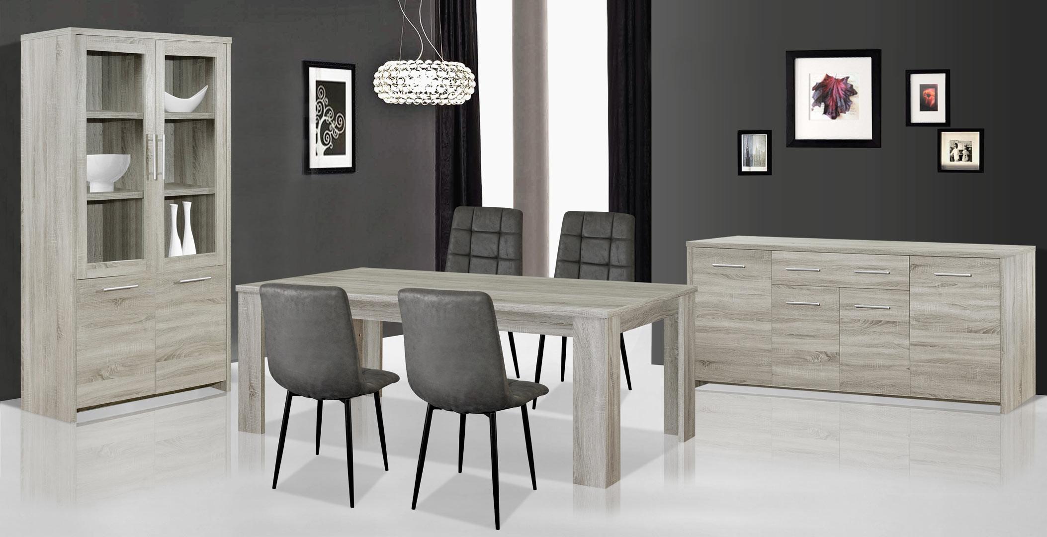 Salle à manger contemporaine coloris chêne gris Vigo