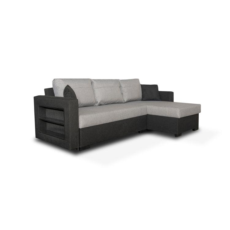 Canapé d'angle convertible moderne en tissu gris/noir Leonie