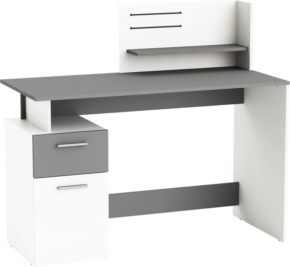 Bureau informatique moderne blanc/gris Uranus