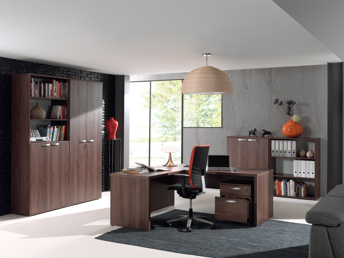 Ensemble de bureau contemporain noyer Octavia