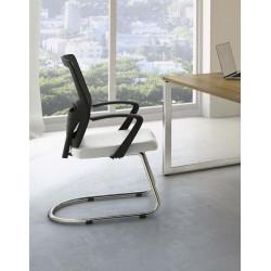 Chaise de réunion contemporaine métal chromé et cuir Hawai