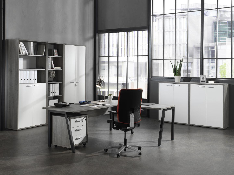 Ensemble de bureau contemporain gris/blanc Augusto