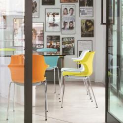 Chaise visiteur design métal blanc et PVC Janice