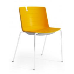 Chaise visiteur design métal blanc et PVC Mickie
