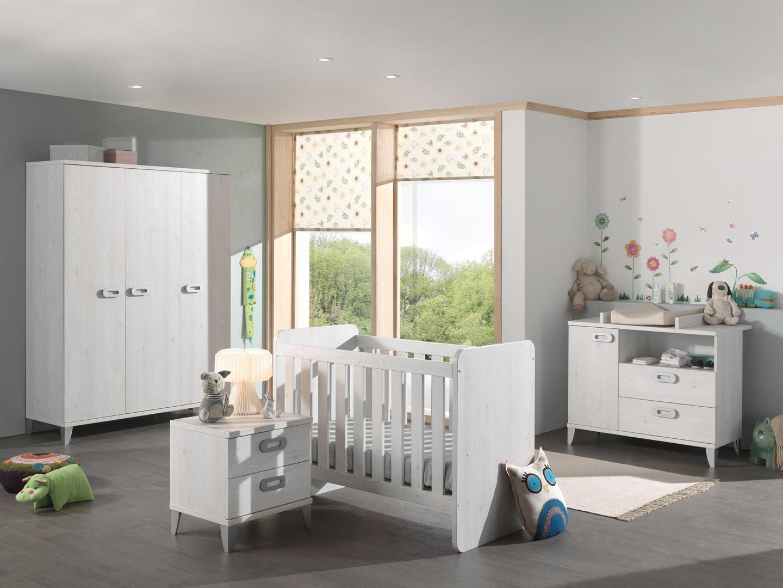 Chambre bébé contemporaine chêne blanchi Yalta