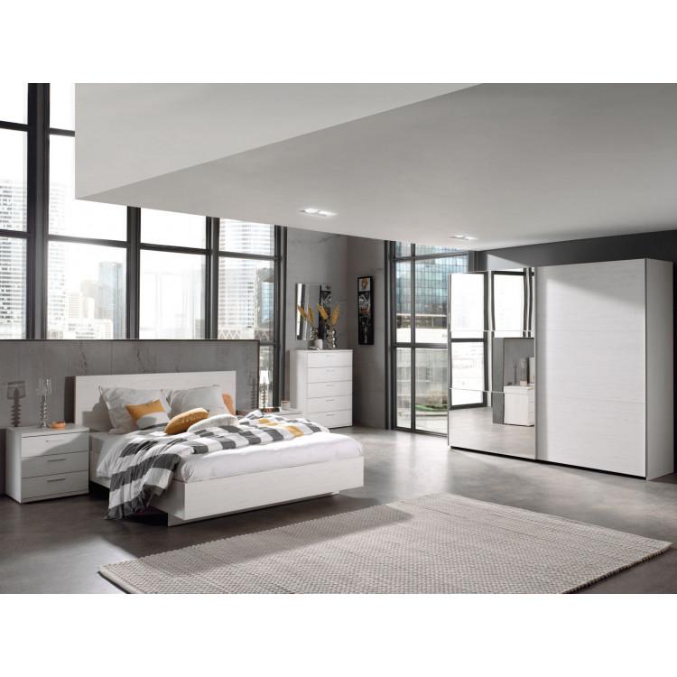 Chambre adulte contemporaine coloris chêne blanc Marvel