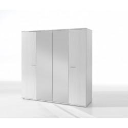 Armoire contemporaine 4 portes chêne blanc Marvel