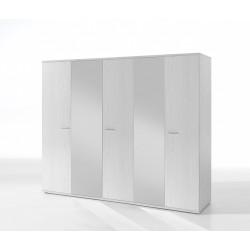 Armoire contemporaine 5 portes chêne blanc Marvel