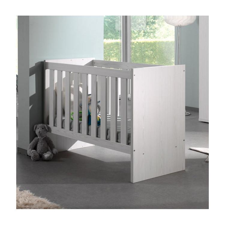 Lit bébé évolutif à barreaux chêne blanc Marvel