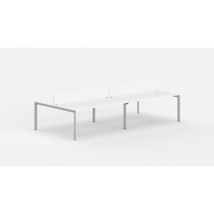 Bureau bench contemporain 4 personnes avec cloisonnette Regis