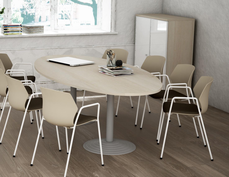 Table de réunion ovale acacia clair Erika I