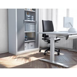 Bureau droit assis-debout contemporain coloris blanc Sofia