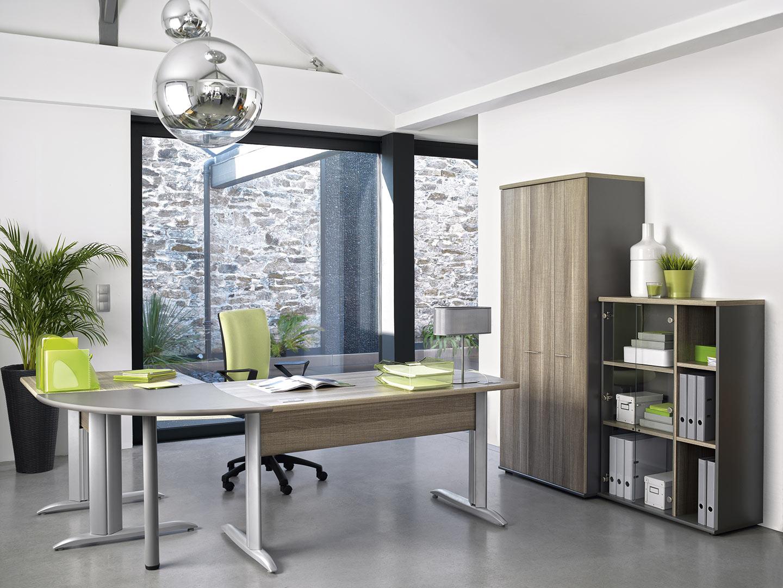Armoire de bureau à 2 portes coloris chêne Romy