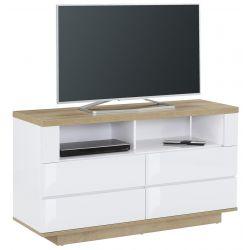 Meuble TV contemporain chêne/blanc Corso