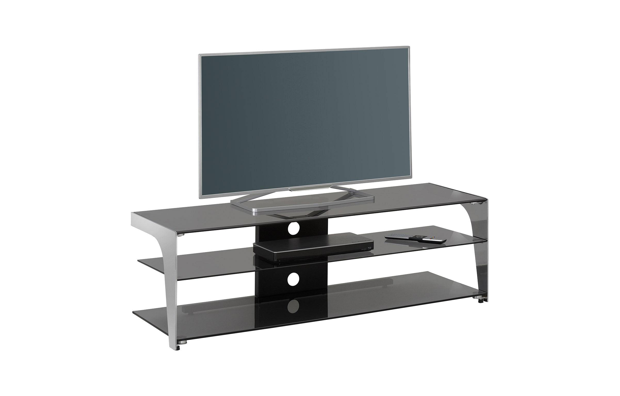 Meuble Tv Moderne En Verre Noir 130 Cm Fréhel