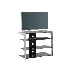 Meuble TV moderne en verre noir 80 cm Fréhel