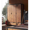 Armoire industrielle 148 cm pin massif miel doré/noir Iberis