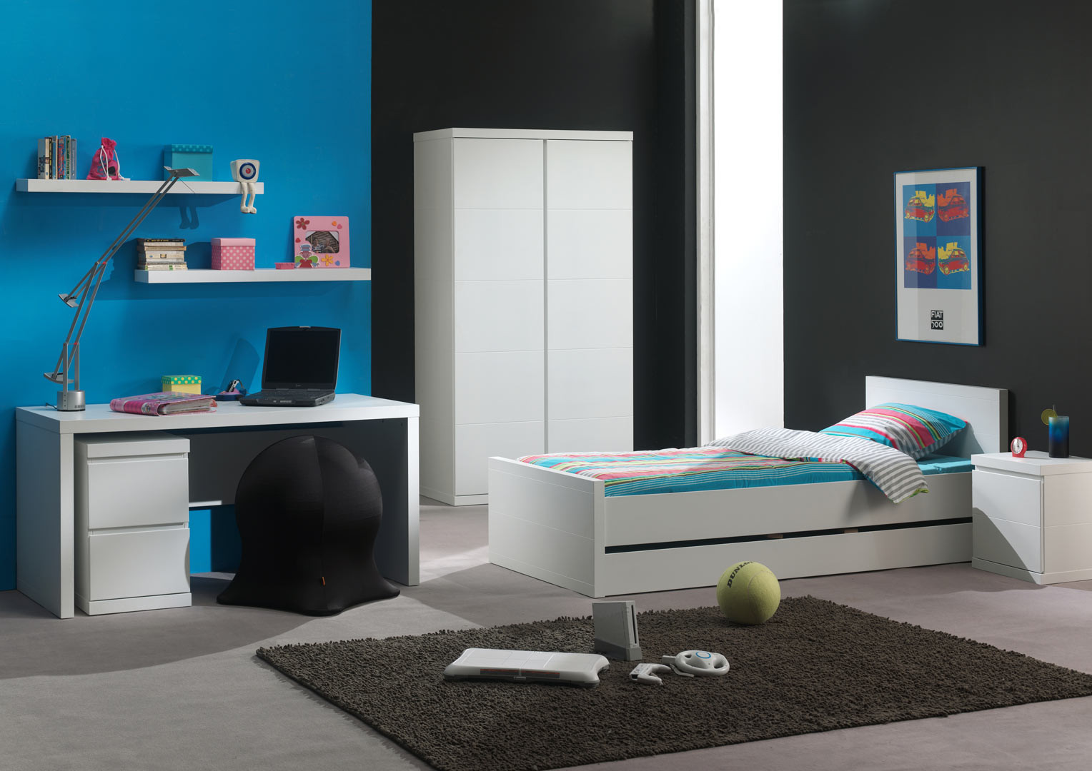 Chambre enfant contemporaine laquée blanche Elara
