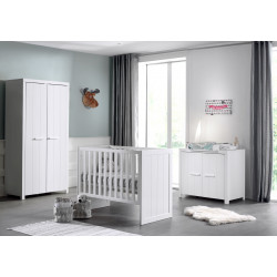 Chambre bébé contemporaine MDF et pin massif laqué blanc Ulrick