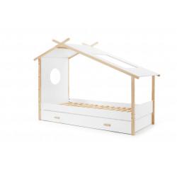Lit cabane enfant contemporain en pin massif laqué blanc Junior