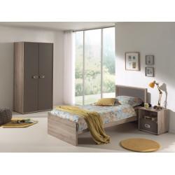 Chambre enfant contemporaine coloris chêne/gris mat Roseline