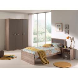 Chambre enfant contemporaine coloris chêne/gris mat Roseline II