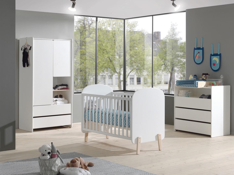 Chambre bébé scandinave pin massif blanc laqué Junior