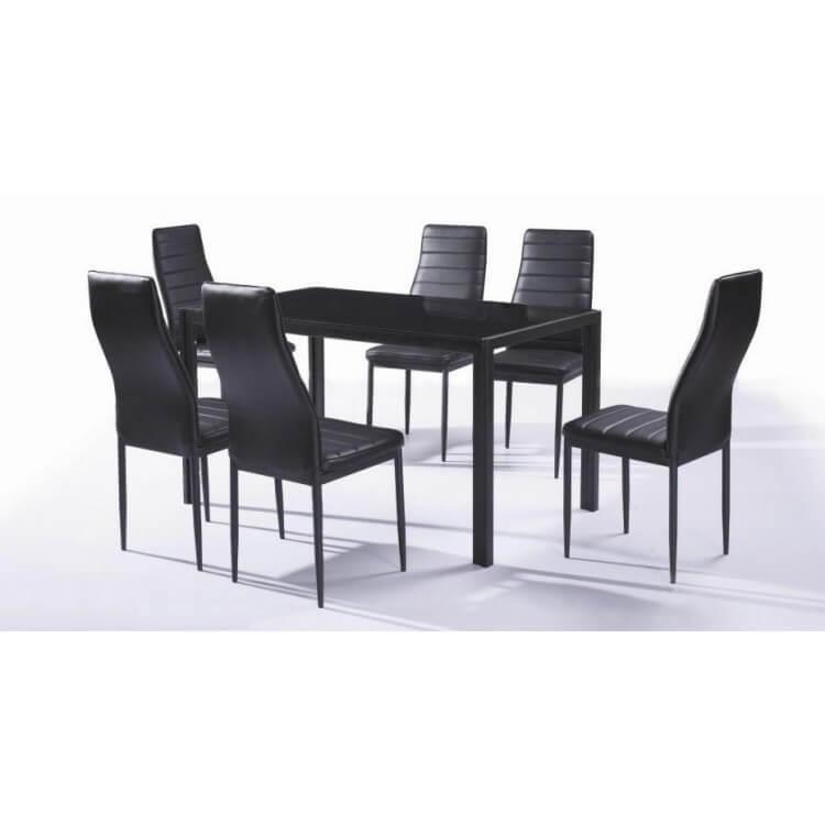 Ensemble table et 6 chaises contemporain coloris noir Nantes