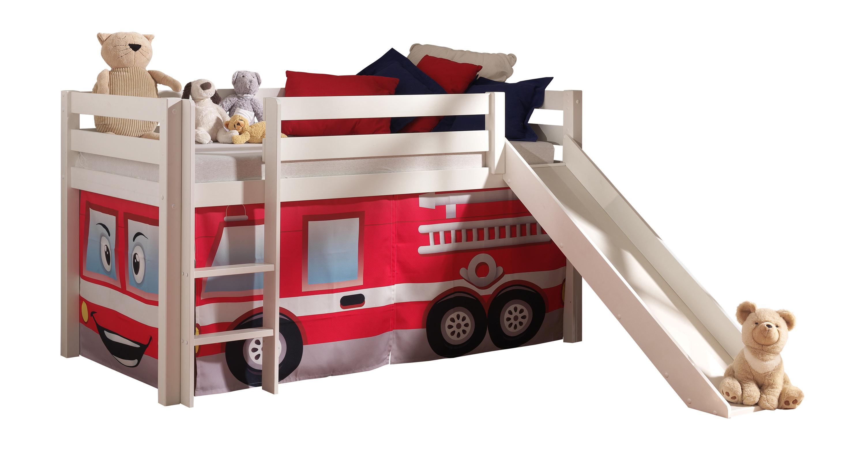 Lit mezzanine enfant moderne pin massif Pompier