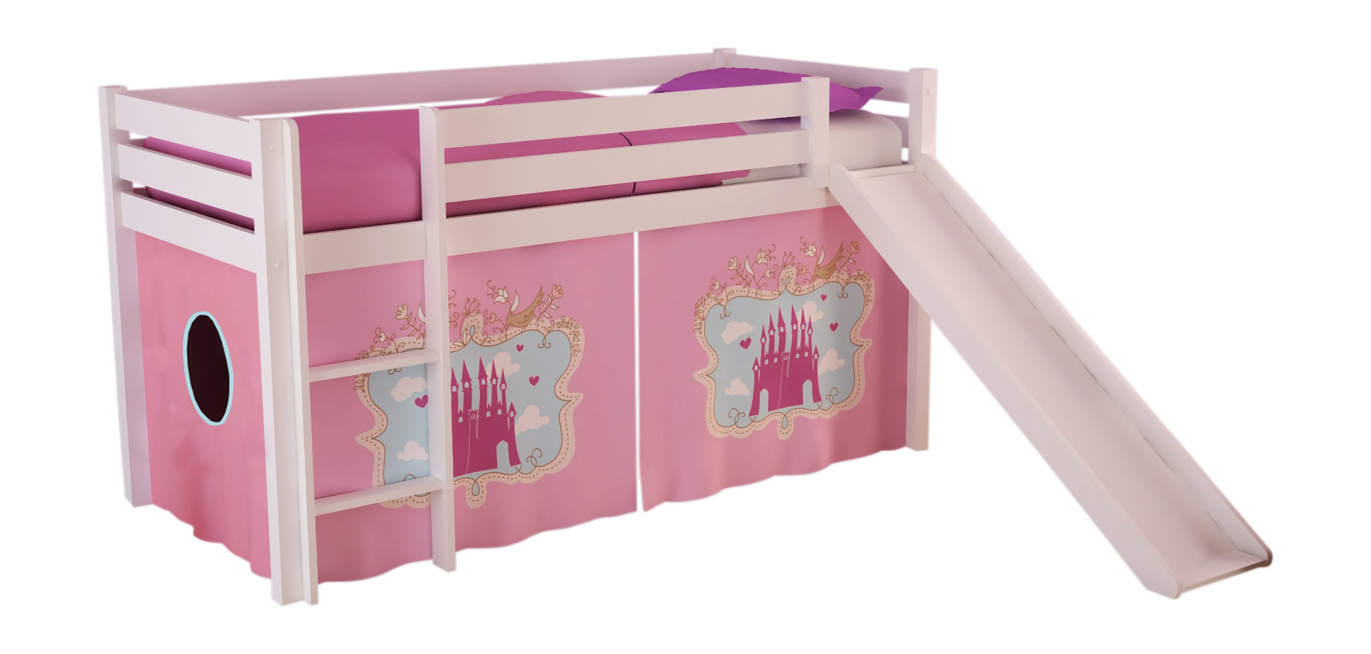 Lit mezzanine enfant moderne pin massif Magic