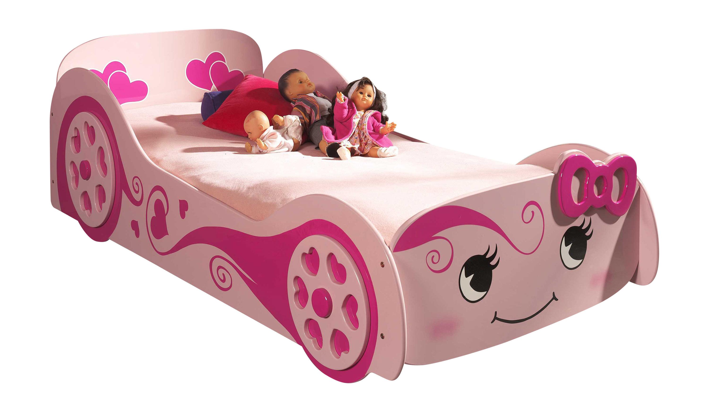 Lit voiture enfant moderne rose Rosie