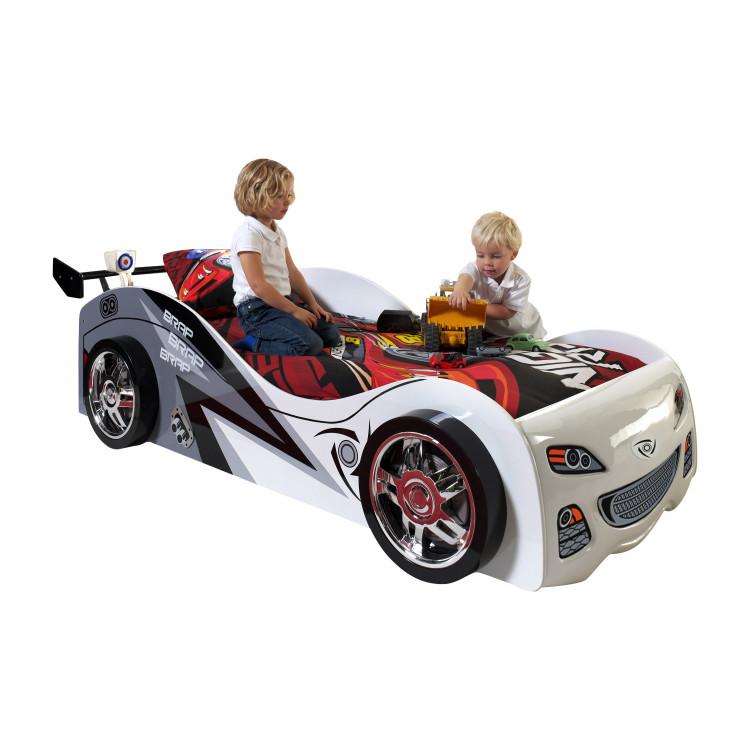 Lit voiture enfant moderne blanc Pole Position